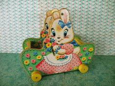 Vintage Fisher Price Bunny Basket on Wheels by SongbirdSalvation 60s Toys, Retro Toys, Fisher Price Toys, Vintage Fisher Price, Vintage Decor, Vintage Toys, Easter Toys, Pull Toy, Vintage Easter