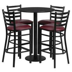 Flash Furniture 30'' Round Black Laminate Table Set with 4 Ladder Back Metal Bar Stools - Burgundy Vinyl Seat RSRB1025-GG