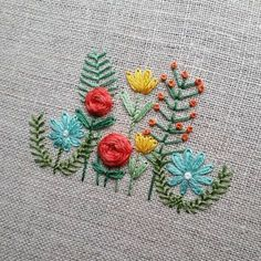 Stitching up another old favorite for the shop. It might be acting like winter outside, but these flowers remind me warmer days (and drinks on the patio ) are just around the corner. Embroidery Transfers, Hand Embroidery Stitches, Silk Ribbon Embroidery, Vintage Embroidery, Floral Embroidery, Cross Stitch Embroidery, Machine Embroidery, Japanese Embroidery, Flower Embroidery Designs