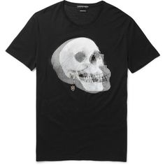 Alexander McQueen Slim-Fit Skull-Print Cotton-Jersey T-Shirt ($825) ❤ liked on Polyvore featuring men's fashion, men's clothing, men's shirts, men's t-shirts, mens skull shirts, mens slim fit shirts, mens skeleton t shirt, mens skeleton shirt and mens skull t shirts