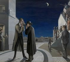 Paul Delvaux (Belgian, Les phases de la lune III [The phases of the moon III], Oil on canvas. via amare-habeo Rene Magritte, Paul Delvaux, James Ensor, Magic Realism, Art Database, Max Ernst, Moon Phases, Nocturne, Surreal Art