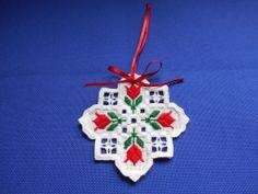 Red Tulip Hardanger Ornament