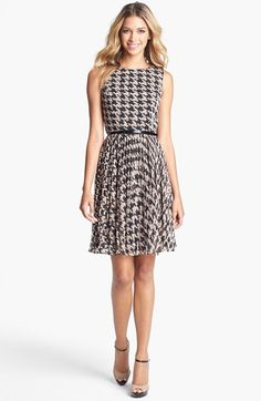 Adrianna Papell Burnout Houndstooth Fit & Flare Dress available at #Nordstrom