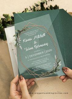 green leaves geometric acrylic wedding invitation card #ewi #acrylic #weddinginvitations