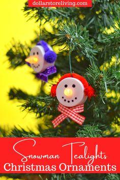 Snowman Christmas Ornaments, Snowman Crafts, Christmas Crafts, Diy Ornaments, Dyi Crafts, Crafts To Do, Crafts For Kids, Tea Light Snowman, Battery Operated Tea Lights