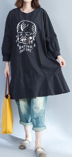3022be30de 2017 baggy loose black prints cotton dresses plus size long slim fit a line  dress