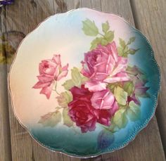 KT K Co. 1920's Porcelain Floral Plate painted by by FreshFellas, $35.00