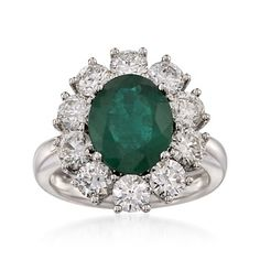 2.95 Carat Emerald and 2.45 ct. t.w. Diamond Ring in 18kt White Gold