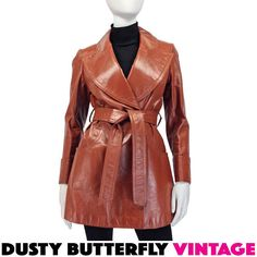 70s Leather Jacket S Short Trench Coat Wide Collar 1970s
