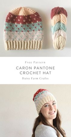Knitting Patterns Modern What do you think about knitted hats? how hard could they be right? Free Pattern - Caron Pantone C. Crochet Scarves, Crochet Yarn, Crochet Clothes, Love Crochet, Crochet Ideas, Crochet Style, Crochet Daisy, Crochet Winter, Tapestry Crochet