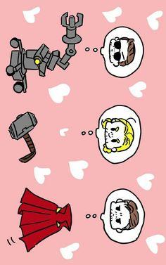 Dum-e, Mjolnir & Cloak of levitation    Iron-Man, Thor, Dr. Strange    Cr: あさくら