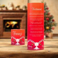 #Weihnachtsdeko #Christmas #Windlicht Menükarte Elche rot: https://www.meine-hochzeitsdeko.de/windlicht-weihnachten-menuekarte-elche