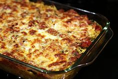 Made my own rendition of spaghetti squash casserole tonight with ground turkey, low fat ricotta, low fat mozzarella and parmesan. Really easy and delicious. Low carb and low fat. You can add whatever veggies you want. So good!