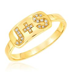 ba75f0e63995 Personalized Diamond Initial Plaque Ring