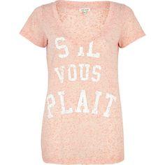 Pink sil vous plait print V neck t-shirt