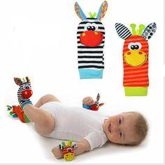 Baby Cute Lovely Infant Kids Foot Socks Rattles Gloves Plush Toys