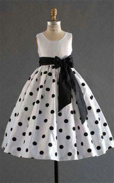 GIrl's black and white polka dot dress Little Dresses, Little Girl Dresses, Girls Dresses, Flower Girl Dresses, Flower Girls, Baby Dresses, 50s Dresses, Elegant Dresses, Pretty Dresses
