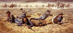 """Billy Dixon Battle of Buffalo Wallow depiction of Dixon's shot from his Sharps """"Big Fifty"""" buffalo rifle, knocked an Indian off his horse dead during that battle. Native American Models, Native American Indians, American History, Comanche Warrior, American Indian Wars, Eskimo, Cowboys And Indians, American Frontier, Cowboy Art"""