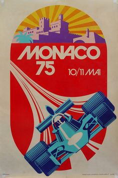 Vintage Poster Roland Hugon, Monaco Grand Prix Lithograph - Roland hugon- monaco grand prix vintage lithographic reproduction of the famous monaco grand prix race held in monaco for the last 100 years. Each print was carefully printed by arte, paris. Rock Posters, Car Posters, Poster S, Sports Posters, Retro Posters, Retro Logos, Poster Ideas, Sports Art, Vintage Racing