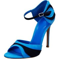 Shoespie Blue Patchwork Open Toe Ankle Wrapped Dress Sandals