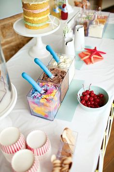 Cool & Beachy Ice Cream Birthday Party - love the clear containers for the ice cream.