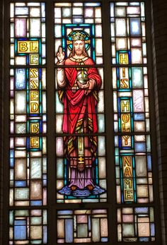 """""""Blessed be His Holy Name!"""" Holy Name of Jesus western side window, St. Angela Merici church, Fairview Park, OH. Taken on the Feast of Christ the King, AD AM) (c) 2014 Paul Fry Fairview Park, Christ The King, Side Window, Catholic School, Names Of Jesus, Savior, Westerns, Blessed, Salvador"""