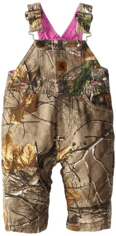 Carhartt Baby-Girls Infant Washed Camo Canvas Bib Overall, Realtree Xtra, 18 Months