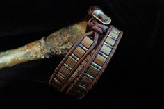 Brown Leather Double Wrap Bracelet with Tila Beads by beadbound