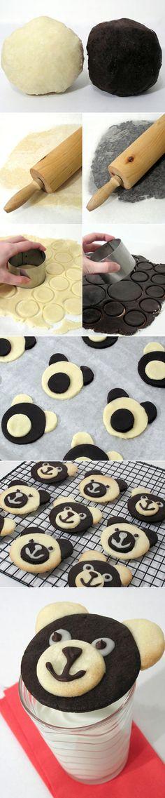 Teddy Bear Cookies or panda cookies too Cookie Desserts, Just Desserts, Cookie Recipes, Delicious Desserts, Dessert Recipes, Yummy Food, Baking Recipes, Cookies Et Biscuits, Cake Cookies