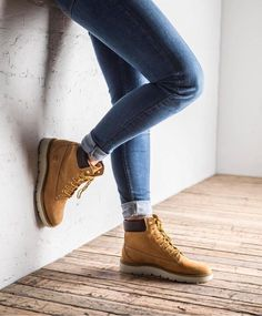 "Timberland: the ""Original Yellow Boot"" has long been a popular American icon. The classic look has been copied by many, but never really duplicated. Timberland Boots Outfit, Ugg Boots, Shoe Boots, Timberlands, Timberland Waterproof Boots, Yellow Boots, Shoe Company, Mode Outfits, Outfits 2016"