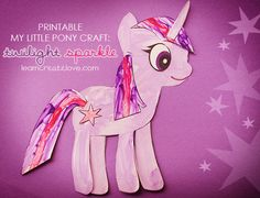 My Little Pony Craft: Twilight Sparkle mag will love it! My Little Pony Party, My Little Pony Craft, My Little Pony Birthday, My Lil Pony, Twilight Sparkle, Printable Crafts, Printable Party, Sparkle Crafts, Diy For Kids
