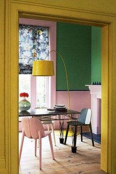 Yellow Green Pink Dining Room / House & Garden / Photo by Mel Yates - colorful interiors Home Interior, Interior And Exterior, Interior Decorating, Color Interior, Decorating Tips, Decorating Websites, Yellow Interior, Interior Walls, Pink Dining Rooms