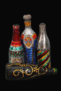 Mosaic Bottle Hand made Materials: High quality art glass