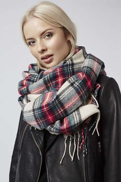Wrap up in style with our supersoft traditional check scarf. #Topshop