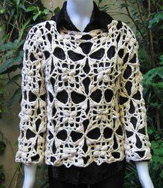 Sweater tejido a mano en crochet con algodon grueso por ruecavellon