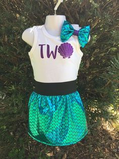 Mermaid Scale Skirt 2nd Birthday Outfit Mermaid Outfit Shell Shirt $32.00 Southern Glam
