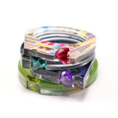 Jewelry ring glass colors with beads, funky, fun, handmade