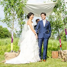 Brides: Rustic Outdoor Wedding Ceremony : Like the color of the Groom's suit
