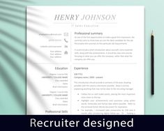 Executive Resume Template For Word / Professional CV Template / CV Design / Cover Letter / Modern Design / Instant Download, Sales, Finance Marketing Resume, Sales Resume, Marketing Jobs, Executive Resume Template, Modern Resume Template, Resume Templates, Cover Letter Design, Cover Letter Template, Letter Templates