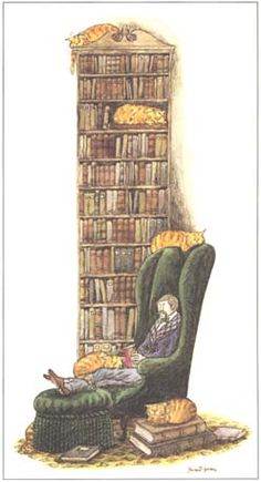 "Drawing ""Book Collector with Six Cats (one hidden)"" by Edward Gorey. Illustrator Gorey adored cats, had many, and left the bulk of his estate to a charitable trust benefiting pet. Image credit: The Edward Gorey Charitable Trust Edward Gorey, Reading Art, World Of Books, I Love Books, Cat Art, Book Lovers, Book Worms, Book Art, Illustration Art"