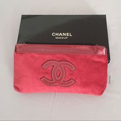 "Chanel cosmetic bag medium New Chanel cosmetic/makeup bag, medium size. Material- velvet.  Big CC logo on front. Zip closure. Fully lined. Chanel labels inside and outside of the bag. Length 8"", width 1"", heigth 4"". 100% authentic.  Comes with the brand box. CHANEL Bags Cosmetic Bags & Cases"