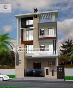 building design at myhousemap.in get best modern building elevation design for your house building elevation design is a very imp aspect of house give your building design a perfect look share your floor plan and get best building elevation design Building Front, Building Design, Building A House, Building Elevation, House Elevation, Modern House Plans, Modern House Design, House Paint Design, New Model House