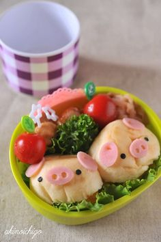 Piglet Soft Buns Kyaraben Bento Lunch