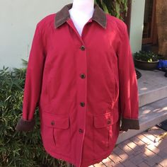 LL Bean thinsulate lined jacket, like new Deep elegant shade of red, brown corduroy sleeve and collar compliment the red. Brown buttons with LL Bean written on each. Thinsulate lining.  Many pockets.  A great jacket.  Tag size says XL PET. Jacket is roomy. Fine fit for XL as well. L. L. Bean Jackets & Coats