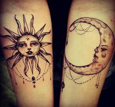 Sun and moon tattoos are a meaningful tattoo idea that is becoming a hot trend in the tattoo community