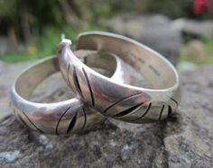 Vintage Taxco Mexican Sterling Silver Hoop Earrings