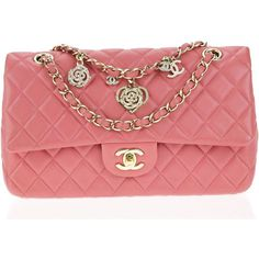 Pre-owned Chanel Pink Lambskin Medium Valentines Classic Flap Bag ($4,000) ❤ liked on Polyvore featuring bags, handbags, chanel, flap handbags, chanel handbags, flap purse and pink purse