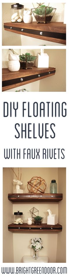 DIY Floating Shelves with Faux Rivets www.BrightGreenDoor.com