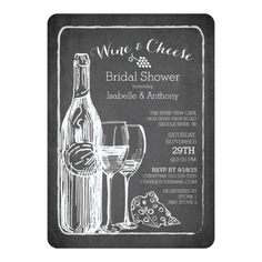 Modern Wine and Cheese Bridal Shower Invitation
