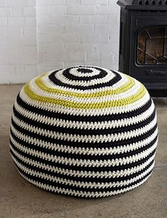 This bold striped pouf will add a fun touch to any room. (Yarnspirations)
